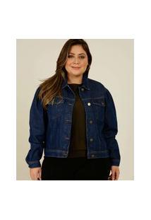 Jaqueta Plus Size Feminina Jeans Manga Bufante