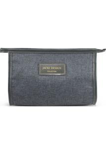 Nécessaire Envelope Com Tag- Cinza Escuro- 15X8,5X20Jacki Design
