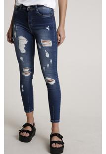 Calça Jeans Feminina Sawary Skinny Cintura Média Destroyed Azul Escuro