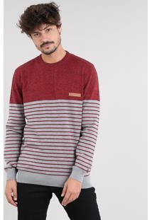 Suéter Masculino Em Tricô Com Listras Vermelho