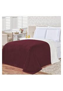 Cobertor Queen 2,40M X 2,20M Manta Microfibra E Sherpa Com Toque De Lá De Carneiro Alaska - Vinho