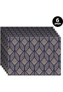 Jogo Americano Mdecore Abstrato 40X28Cm Azul 6Pçs