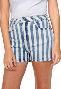 Bermuda Sarja Ellus Reta Vintage Stripe Branca/Azul
