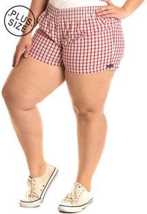 Short Tecido Konciny Plus Size Vermelho