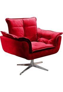 Poltrona Decorativa Brandson Vermelha Em Veludo Base Giratória Orion
