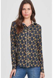 Camisa Mini Rubinella Floral Feminina - Feminino-Marinho+Amarelo