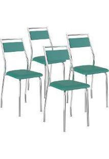 Cadeira 1717 4 Peças Turquesa/Cromado - Carraro