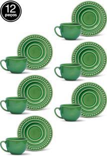 Conjunto 12Pçs Xícaras De Chá Porto Brasil Atenas Verde