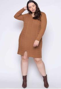 Vestido Almaria Plus Size Kalanchoe Canelado Linha