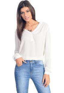 Camisa Wool Line Decote V Off White