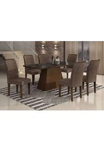 Conjunto De Mesa Lunara Ii Com Vidro E 6 Cadeiras Suede Amassado Castor E Chocolate