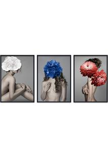 Quadro 60X120Cm Liv Mulher Com Flores Branca Zul E Vermelha Moldura Preta Sem Vidro