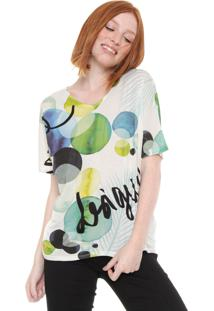 Camiseta Desigual Estampada Off-White/Verde - Off White - Feminino - Viscose - Dafiti
