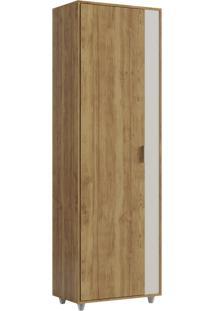 Armário Multiuso Com 1 Porta E 4 Prateleiras Unique-Caemmun - Buriti / Off White