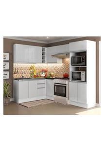 Cozinha Completa Madesa 100% Mdf Acordes De Canto Portas Branco Brilho (Sem Tampo E Pia) Branco