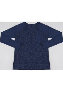 Camiseta Infantil Flamê Manga Longa Gola Careca Azul Marinho