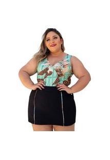 Conjunto Regatinha E Shot Saia Old Store Plus Size Feminino