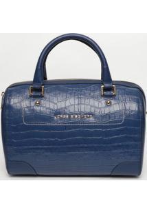 Bolsa Em Couro Com Recorte - Azul Marinho- 24X33X10,Jorge Bischoff