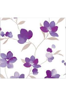 Papel De Parede Floral Lilás, Branco E Cinza Allegra Vinílico 53Cm X 10M Muresco