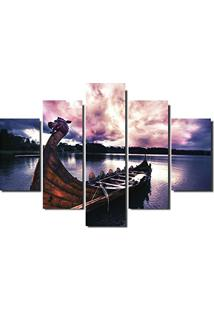 Quadro Painel Mosaico Decorativo 5 Partes Barco Viking