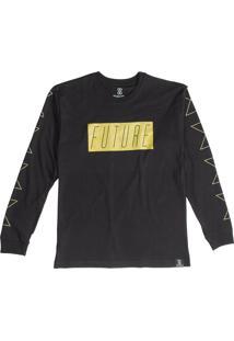 Camiseta Manga Longa Future Skateboards Neon Wave Preta