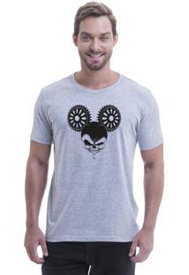 Camiseta Blast Fit Cinza Caveira Mickey