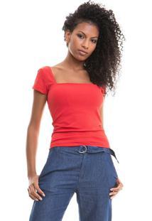 Blusa Decote Quadrado Vermelho