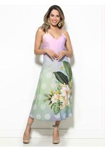 Vestido Cropped Flor Solar Degrade Rosa