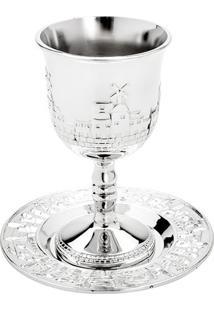 Jogo De Taça Para Vinho Com Prato Judaico- Prateado-Rojemac