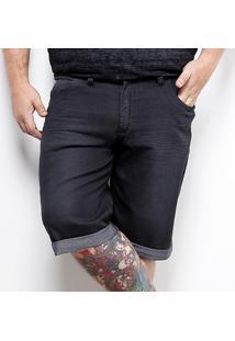 Bermuda Jeans Preston Elastano Black Plus Size Masculina - Masculino