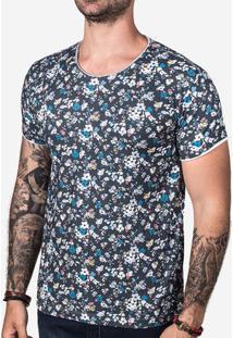 Camiseta Micro Floral Petróleo 102806