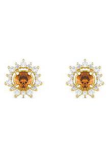 Brinco Ouro Amarelo Citrino E Diamantes