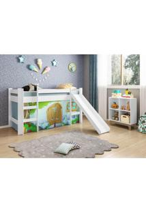 Quarto Infantil Cama Casinha Pedra Azul E Estante - Casatema