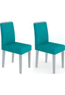 Conjunto Com 2 Cadeiras Ana I Off White E Turquesa