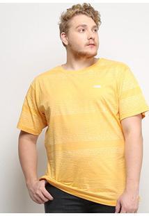Camiseta Gajang Listrada Estonada Plus Size Masculina - Masculino-Amarelo