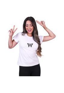 Tshirt Basica Algodão Camisa Borboleta Feminina