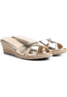 Tamanco Anabela Shoestock Corda - Feminino-Dourado