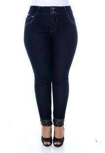 Calça Xtra Charmy Jeans Plus Size Skinny Com Barrinha Onça Azul