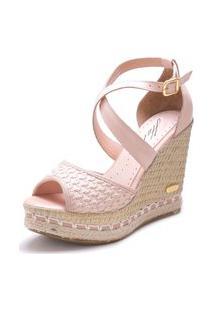 Sandália Anabela Sb Shoes Ref.3207 Nude