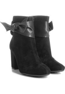 Ankle Boot Azaleia Com Detalhe Em Amarração - Feminino-Preto