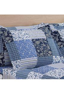 Porta Travesseiro Matelasse Micropercal Jardim Blue