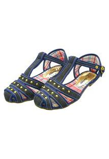 Sandália Romântica Calçados Salomé Jeans Azul