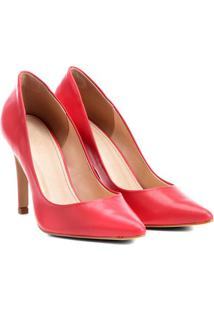 Scarpin Liso Em Couro- Vermelho- Salto: 10Cmshoestock