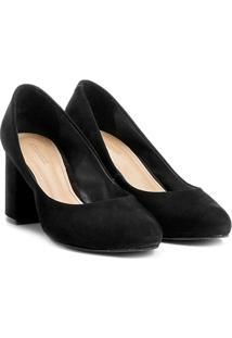 Scarpin Couro Shoestock Salto Médio Básico - Feminino-Preto