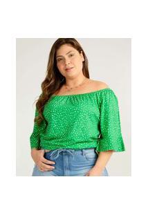 Blusa Plus Size Feminina Ciganinha Estampa Poá