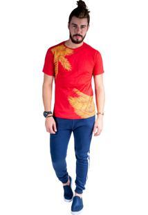 Camiseta Mister Fish Estampado Palmeiras Plus Size Vermelho
