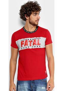 Camiseta Fatal Recorte Stars Gola Personalizada Masculina - Masculino