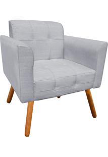 Poltrona Decorativa Elisa Linho Cinza Texturizado A53 Com Pés Palito - D'Rossi
