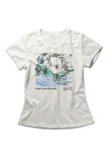 Camiseta Feminina Demon Slayer Tanjiro Off-White