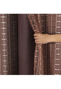 Cortina Blackout Pvc C Tecido Voil Xadrez 2,80 X 2,30 Tabaco - Multicolorido - Dafiti
